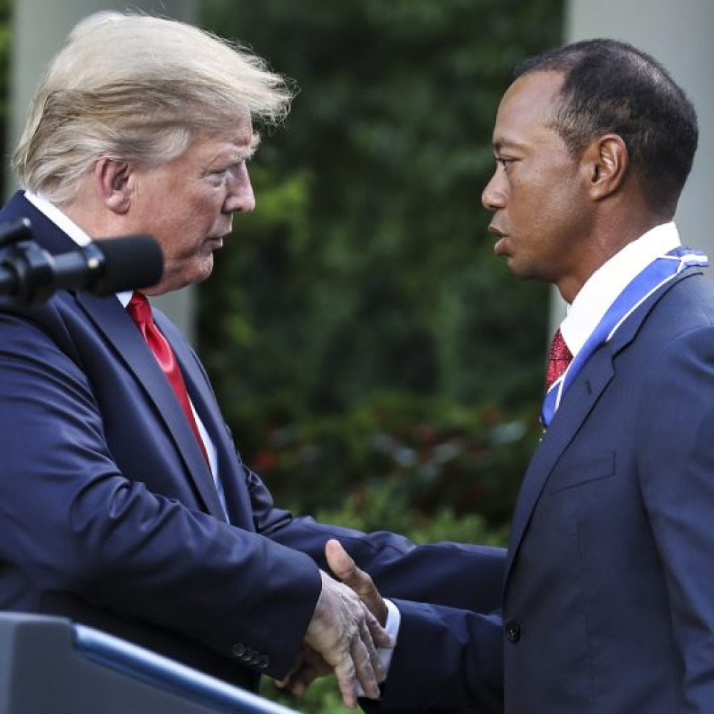 Tiger awarded Presidential Medal of Freedom in emotional ceremony